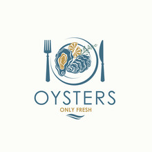 Label Of Fresh Oyster Shell And Lemon On Plate Isolated On Light Background