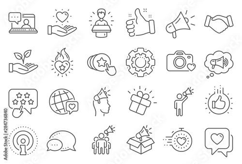 Fototapety, obrazy: Brand ambassador line icons. Influence people, Megaphone and Representative. Handshake, influencer marketing person, social media like icons. Ambassador person. Brand pr. Line signs set. Vector