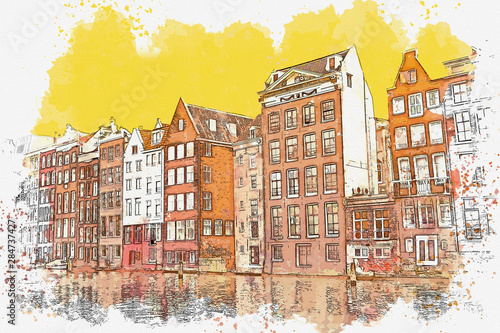 Photo  Watercolor sketch or illustration of traditional architecture in Amsterdam in th
