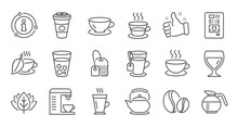 Coffee And Tea Line Icons. Cappuccino, Teapot And Coffeepot. Coffee Beans Linear Icon Set. Quality Line Set. Vector