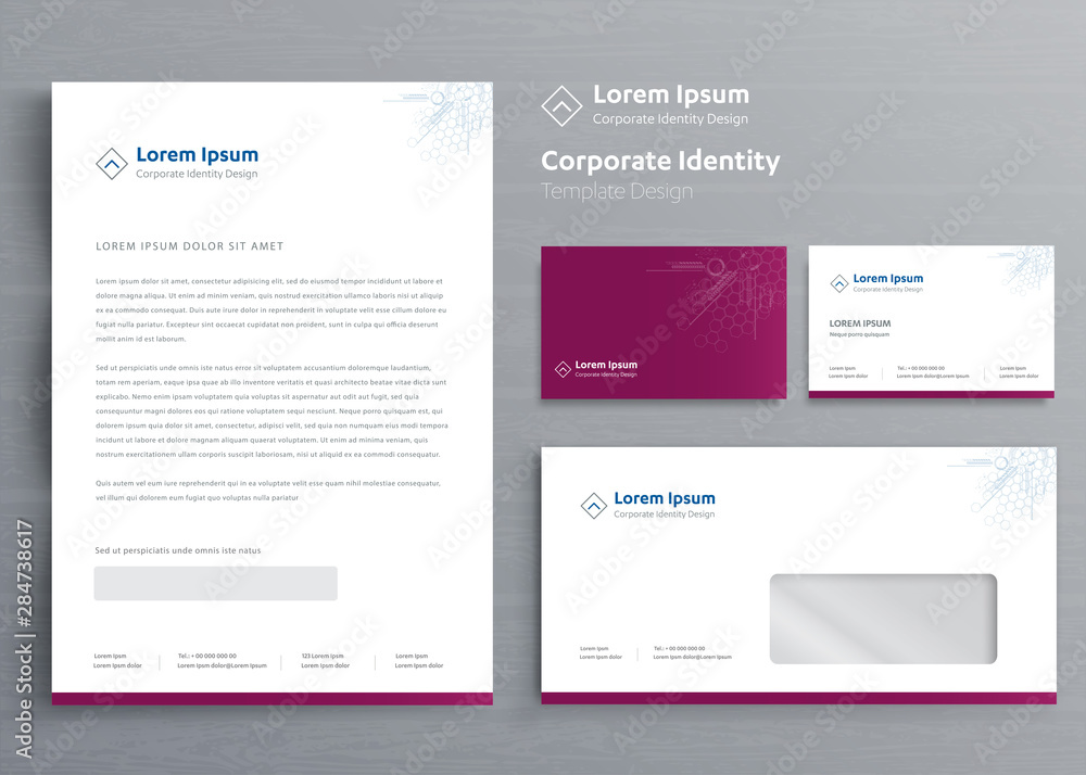 Fototapeta Classic stationery business Corporate Identity template design,  Brochure, flyer Digital Communication report Vector illustration mockup