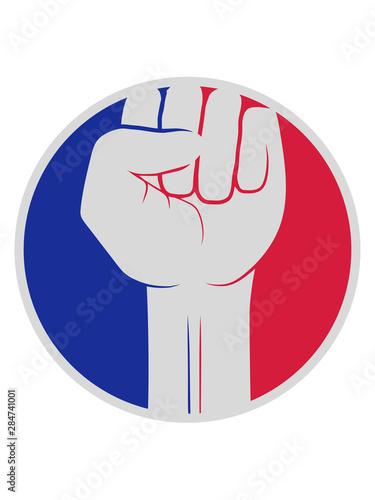 rot blau sticker kreis revolution symbol faust hand strecken oben luft halten ze Tableau sur Toile