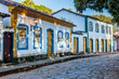 canvas print picture - Historic Center with fog in the city of Tiradentes Minas Gerais Brazil