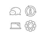 Laptop line icon. Chat bubble, info sign elements. Mobile computer device sign. Linear laptop outline icon. Information bubble. Vector - 284745034