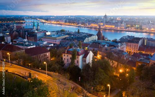 Fototapeta Night view of Budapest cityscape with  Danube river, Hungary obraz na płótnie