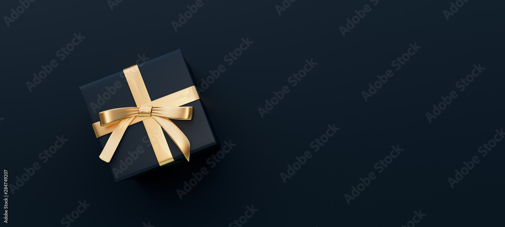 Fototapeta Black gift box with golden bow on black background 3D Rendering
