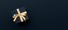 Black Gift Box With Golden Bow...