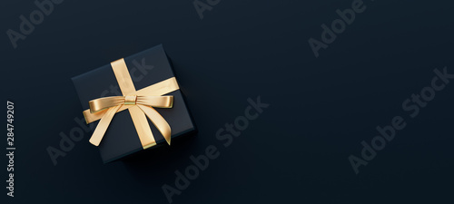 Obraz Black gift box with golden bow on black background 3D Rendering - fototapety do salonu