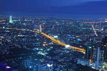 Bangkok, Thailand - April 16, 2019 :Night light in Bangkok Thailand from a roof top