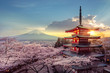 canvas print picture - Fujiyoshida, Japan Beautiful view of mountain Fuji and Chureito pagoda at sunset, japan in the spring with cherry blossoms