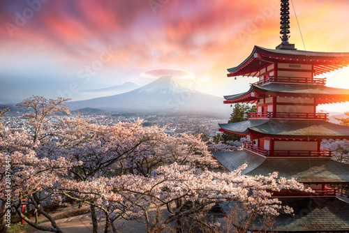 Autocollant pour porte Brun profond Fujiyoshida, Japan Beautiful view of mountain Fuji and Chureito pagoda at sunset, japan in the spring with cherry blossoms