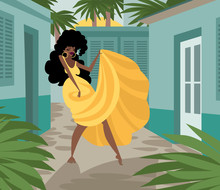 Rumba Cuban African Beautiful Yellow Dress Dancer