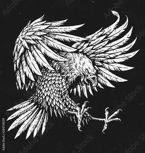 Hand drawn bold linework swooping tattoo eagle Wall mural