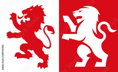 Fototapeta ライオンの紋章 Lion Crest, old and new style heraldic vector emblem obraz