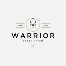 Warrior Logo Design Vector Template.Creative Warrior Knight Emblem Inspiration