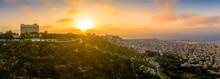 Panoramic Aerial View Of Haifa In Israel Before Sunset