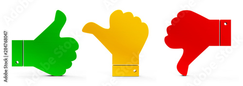 Fototapeta Thumbs up, down and middle #2 obraz