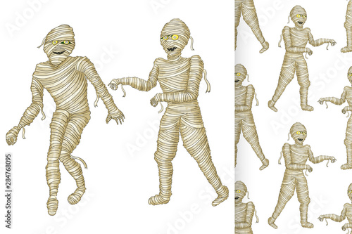 Stampa su Tela Egyptian mummy and seamless pattern Boy in Halloween mummy costume laughing scarring