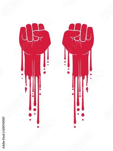Fotografie, Obraz anarchie 2 fäuste blut faust revolution tropfen graffiti farbe symbol hand strec