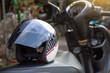 Helmet isolated on motorbike.