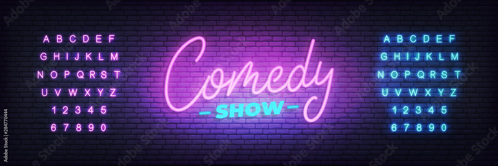 Fototapety, obrazy: Comedy show neon. Lettering neon glowing sign for Comedy show