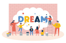 The Children Are Writing The Word Dream On The Wall With Paint. Flat Design Style Minimal Vector Illustration.