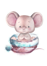 Watercolor Little Mouse - Symbol Of 2020 Illustration.