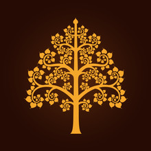 Golden Bodhi Tree Symbol With ...