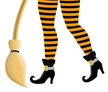 Legs Of A Witch In Striped Stockings And Black Boots With A Broom On A White Background. Design Elements For Halloween. Halloween Characters.