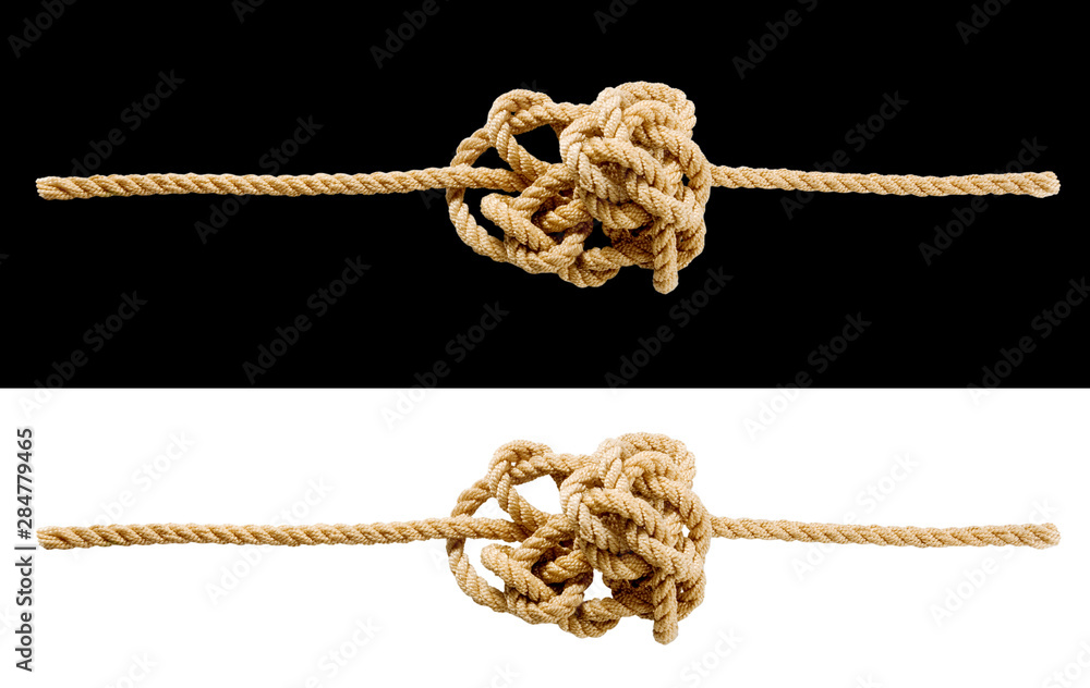 Fototapeta Image of a tangled cord on a white background. Problem solving concept