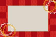 正月のイメージの水引きのフレーム・罫線・背景(赤)_年賀状素材・青海波模様・松皮菱ベクターデータ