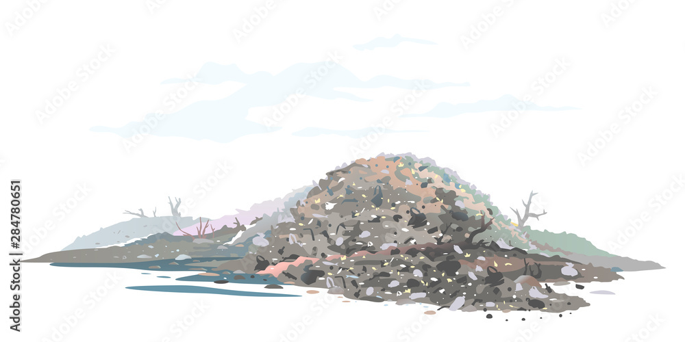 Fototapeta One big gray heap of trash and waste bags isolated on white, garage dump with mountains of trash and waste bags, disgusting heap of household waste, environmental pollution illustration