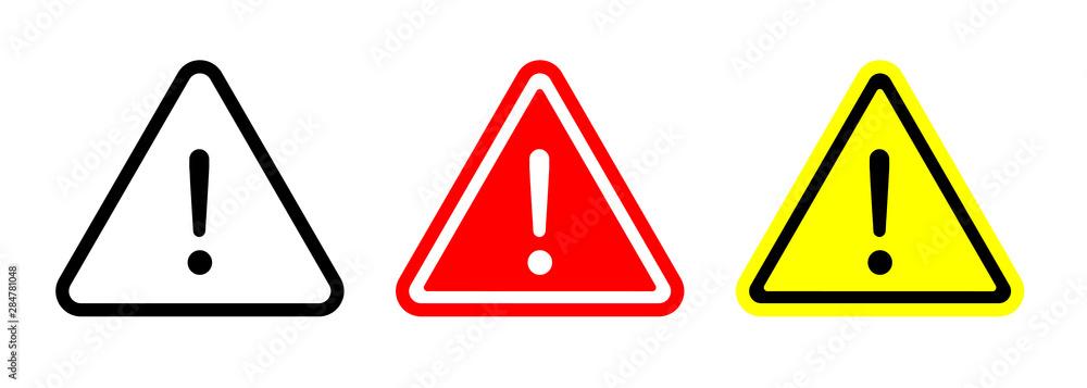 Fototapeta Caution warning signs set. Exclamation marks