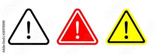 Stampa su Tela Caution warning signs set. Exclamation marks