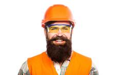 Portrait Of A Builder Smiling. Builder In Hard Hat, Foreman Or Repairman In The Helmet. Bearded Man Worker With Beard In Building Helmet Or Hard Hat. Man Builders, Industry. Building Glasses