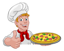 A Chef Holding A Plate Of Pizz...