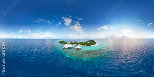 Aerial spherical panorama of tropical paradise beach  on tiny Maldives island Fototapeta