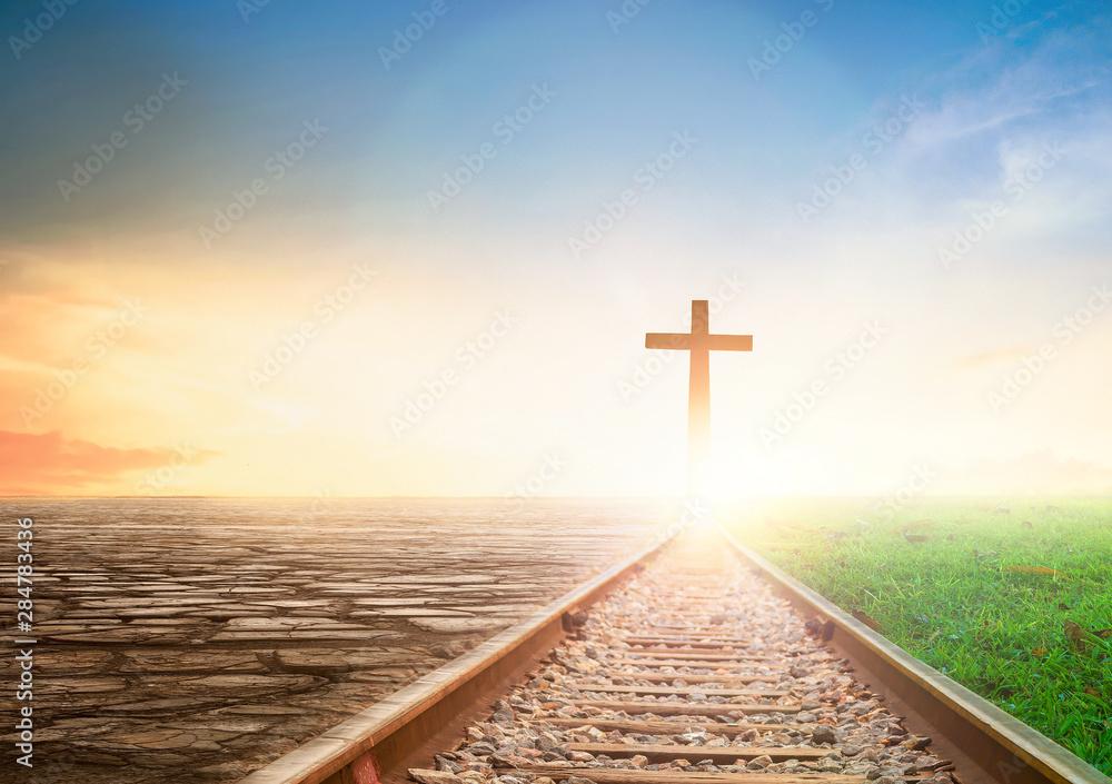 Fototapeta Jesus Cross Concept: way walking towards a cross