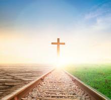 Jesus Cross Concept: Way Walking Towards A Cross