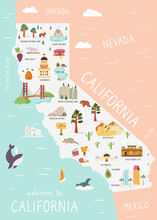 An Illustrated Map Of Californ...