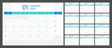 Calendar 2020 Week Start Sunday Corporate Design Planner Template. Calendar Planner A4 Size.