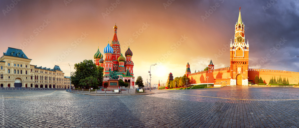 Fototapety, obrazy: Panorama in Moscow at sunrise, Red square with saint Basil in Russia