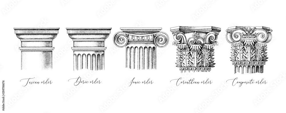 Fototapeta Architectural orders. 5 types of classical capitals - tuscan, doric, ionic, corinthian and composite