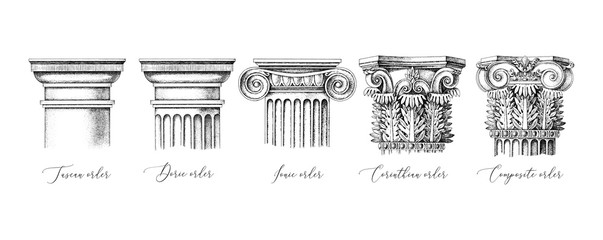 Architectural orders. 5 types of classical capitals - tuscan, doric, ionic, corinthian and composite