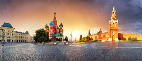 Photo Panorama in Moscow at sunrise, Red square with saint Basil in Russia