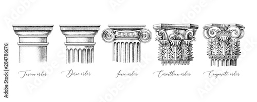 Naklejka premium Architectural orders. 5 types of classical capitals - tuscan, doric, ionic, corinthian and composite