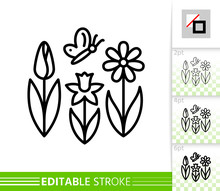 Spring Flower Butterfly Simple Line Vector Icon