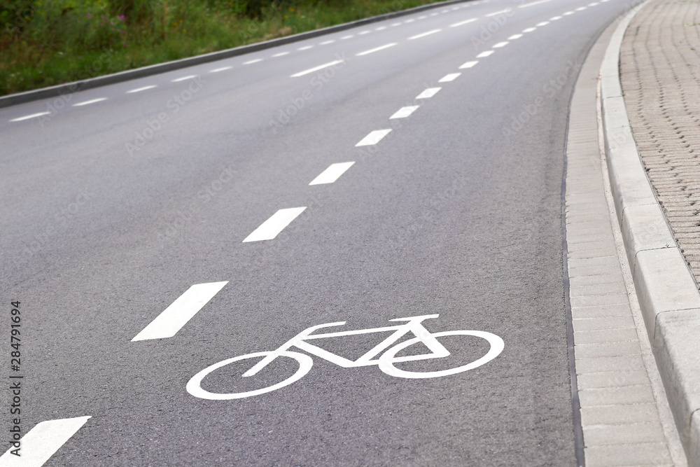 Fototapety, obrazy: bicycle lane in europe closeup