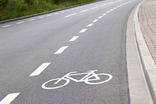Bicycle Lane In Europe Closeup