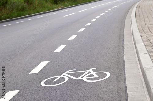 bicycle lane in europe closeup Canvas Print